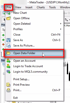Open MT4 Data Folder;Switch to the MT4 window and open