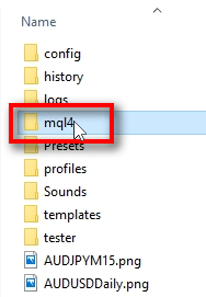 Check if all FxMagnetic files were copied;Open the MQL4 folder.