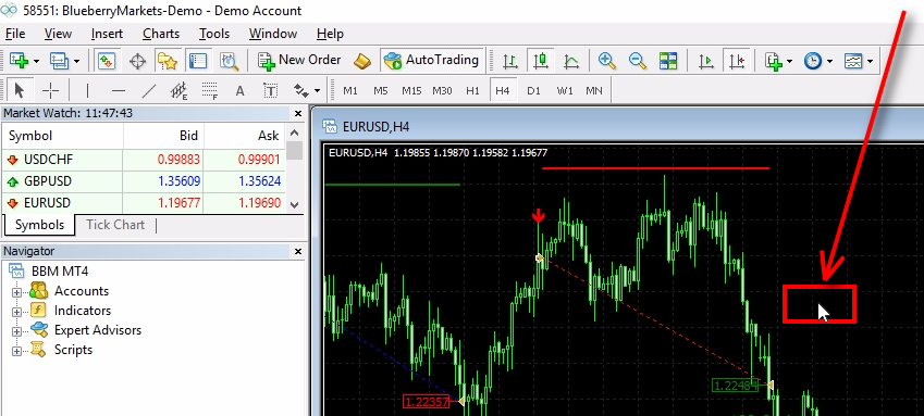 Select the chart where you have the indicator attached;First, you need to make sure that the correct chart is selected. Find the chart where you have the indicator attached and then click anywhere on it. This way we make sure the chart is selected and ready for the bar download procedure.