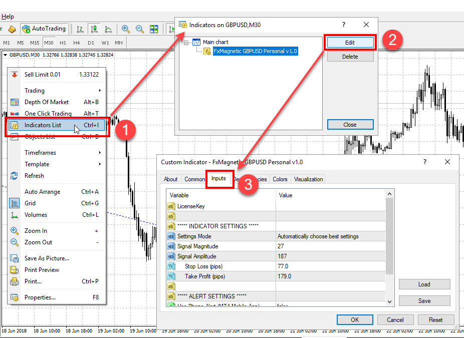 Opening MT4 custom indicator FxMagnetic settings when it is already attached to the chart
